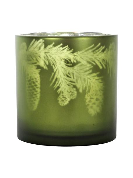 Portavelas Woods, Vidrio, Verde, plateado, Ø 15 x Al 15 cm