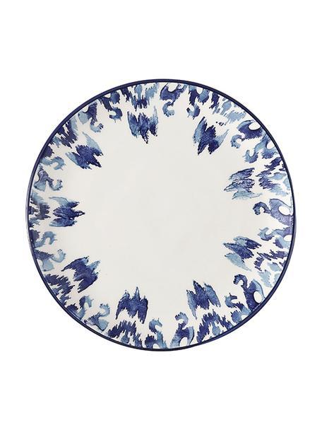 Handgemaakte dinerborden Ikat, 6 stuks, Keramiek, Wit, blauw, Ø 26 cm