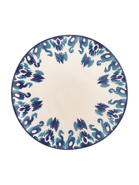 Ręcznie wykonany talerz duży Ikat, 6 szt., Ceramika, Biały, niebieski, Ø 26 cm