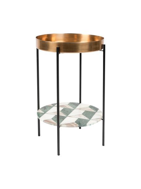 Stolik pomocniczy z marmuru Another, Nogi: metal malowany proszkowo, Wielobarwny, Ø 37 x W 57 cm