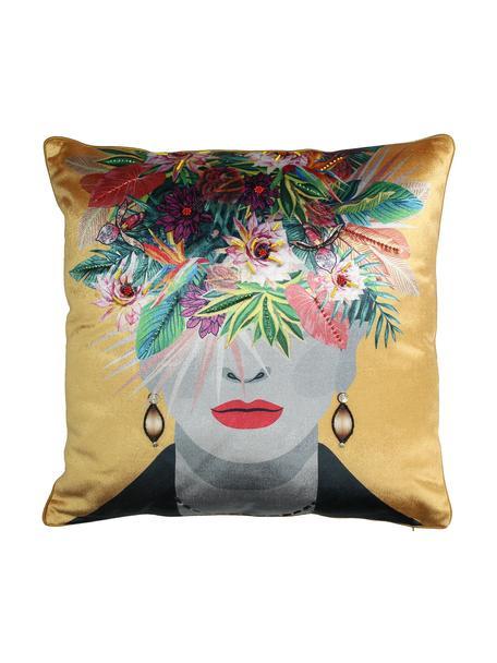 Cuscino in velluto con imbottitura Flower Head, Rivestimento: 100% velluto di cotone, Giallo ocra, multicolore, Larg. 45 x Lung. 45 cm