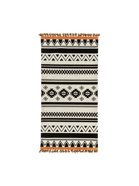 Alfombra kilim con borlas Afar, estilo étnico, Algodón, poliéster, Negro, An 80 x L 150 cm (Tamaño XS)