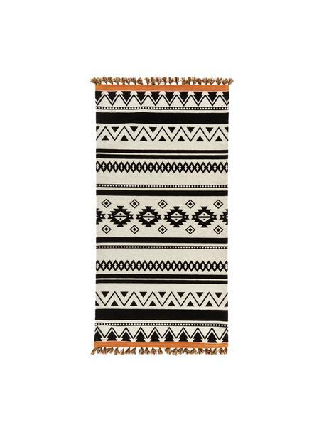 Tappeto Kilim con motivo etnico e nappe Afar, Cotone, poliestere, Nero, Larg. 80 x Lung. 150 cm (taglia XS)