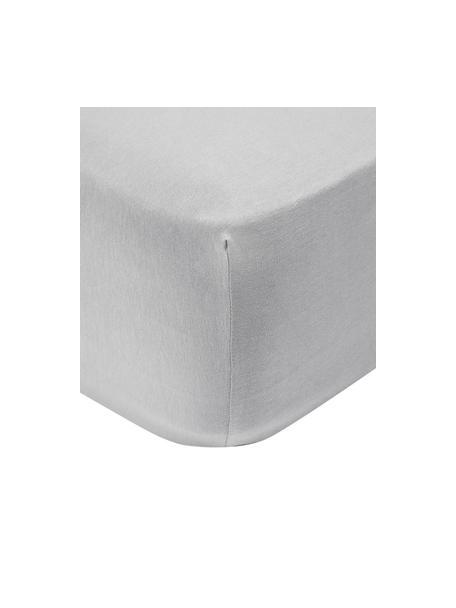 Lenzuolo con angoli topper in jersey-elastan grigio chiaro Lara, 95% cotone, 5% elastan, Grigio chiaro, 90 x 200 cm