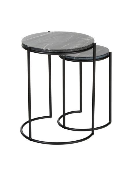 Set de mesas auxiliares de mármol Ella, 2pzas., Tablero: mármol, Estructura: metal con pintura en polv, Negro veteado, negro, Set de diferentes tamaños