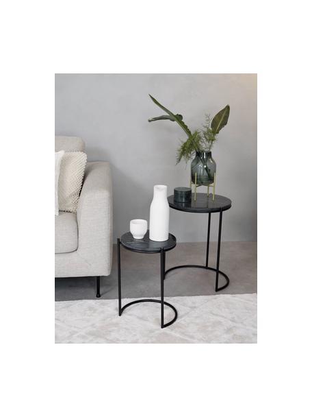 Marmor-Beistelltisch-Set Ella, 2-tlg., Schwarzer Marmor, Schwarz, Set mit verschiedenen Grössen