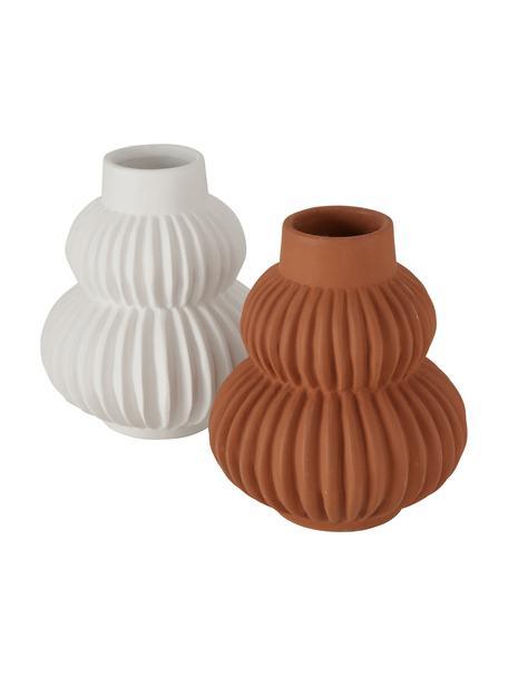 Handgefertigtes Dolomit-Vasen-Set Altena, 2-tlg., Dolomit, Mehrfarbig, Ø 13 x H 16 cm