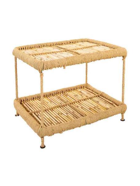 Tavolino da esterno in bambù Ariadna, Ripiani: legno di bambù, corda, Gambe: metallo, Marrone, Larg. 49 x Alt. 38 cm