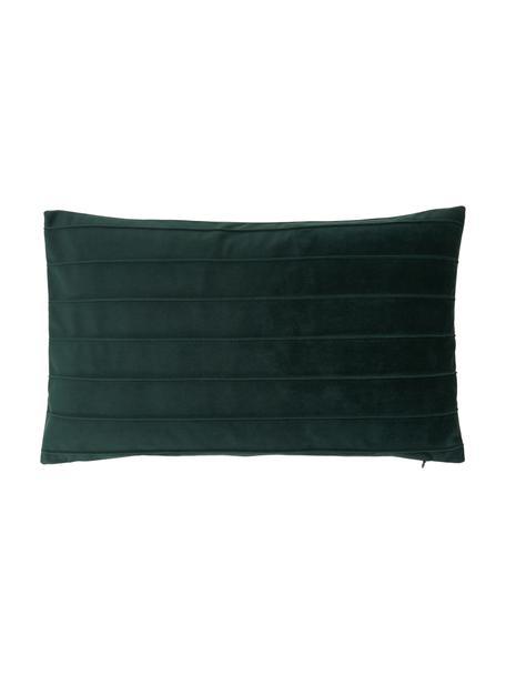 Fluwelen kussenhoes Lola in donkergroen met structuurpatroon, Fluweel (100% polyester), Groen, 30 x 50 cm