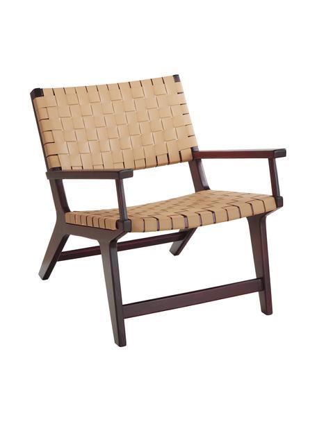 Cuero sintético-sillón Akina in beige, Asiento: cuero sintético (100%pol, Estructura: madera de acacia maciza p, Beige, An 62 x F 74 cm