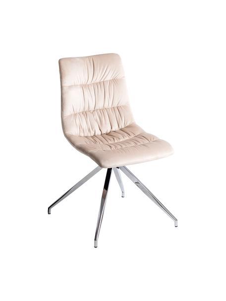 Krzesło tapicerowane z aksamitu Lea, Tapicerka: beżowy, Nogi: metal chromowany, Beżowy, chrom, S 46 x G 52 cm