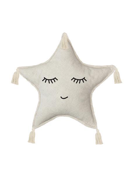 Cuscino stella soffice con nappine Happy Star, Rivestimento: 85% poliestere, 15% lino, Beige, Larg. 45 x Lung. 45 cm