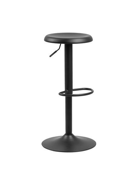 In hoogte verstelbare barkrukken Finch in zwart, 2 stuks, Gepoedercoat metaal, Zwart, Ø 40 x H 80 cm