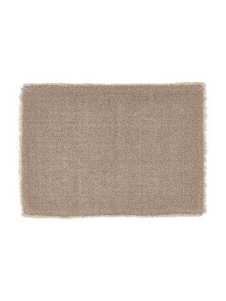 Katoenen placemats Edge in beige, 6 stuks, 85% katoen, 15% gemengde vezels, Grijs, 35 x 48 cm