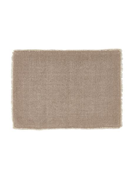 Placemats Edge, 6 stuks, 85% katoen, 15% gemengde vezels, Grijs, 35 x 48 cm