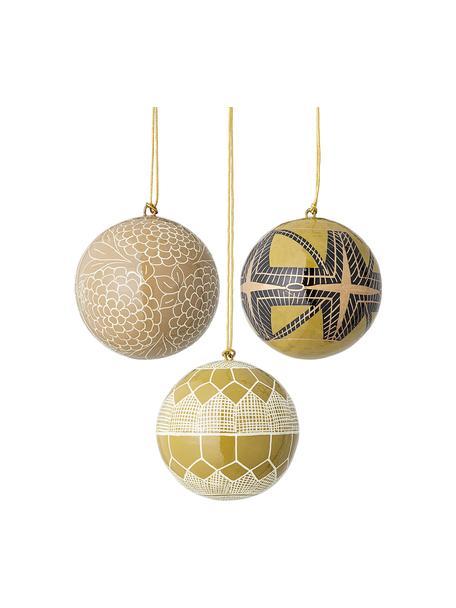 Kerstballenset Mia, 3-delig, Maché papier, Geel, beige, zwart, Ø 8 cm