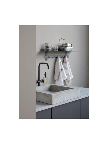 Baumwoll-Geschirrtücher Halida mit Streifen und Karomuster, 2 Stück, 100% Baumwolle, Weiß, Nougatbraun, 55 x 75 cm