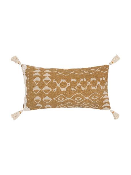 Boho kussenhoes Boa met kwastjes, 100% katoen, Geel, wit, 30 x 60 cm