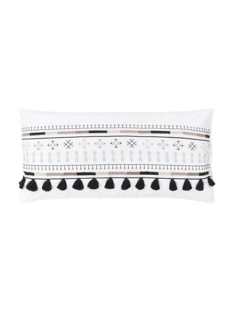 Bestickte Baumwollperkal-Kopfkissenbezüge Inda mit Quasten, 2 Stück, Webart: Perkal Fadendichte 200 TC, Weiß, 40 x 80 cm