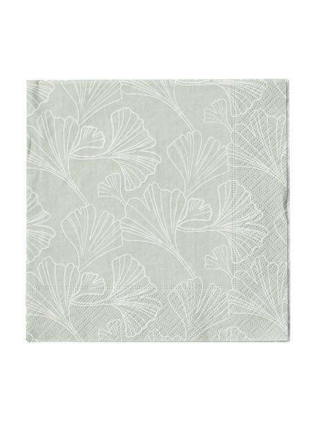 Papier-Servietten Gigi, 20 Stück, Papier, Mintgrün, Weiß, 33 x 33 cm