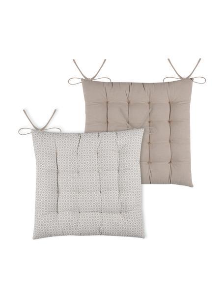 Dwustronna poduszka na krzesło Galette, 100% bawełna, Beżowy, biały, S 40 x D 40 cm