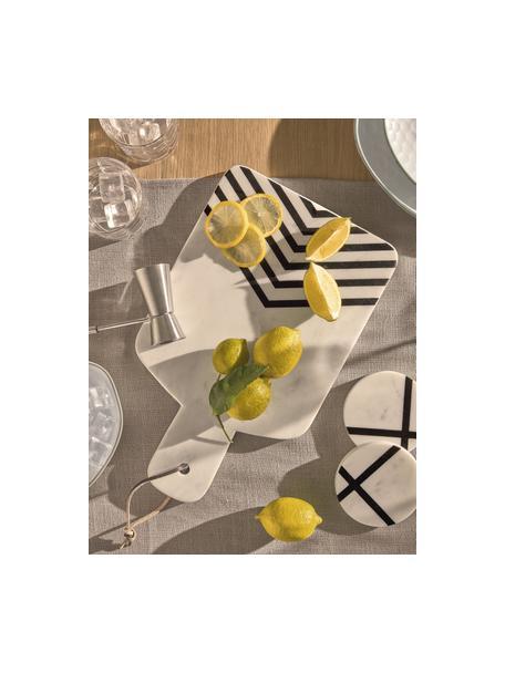 Marmeren snijplank Imeris met zwart patroon, Plank: marmer, Ophanglus: imitatieleer, Wit, gemarmerd, zwart, 23 x 38 cm