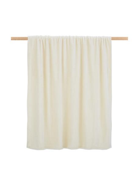 Coperta coccolosa color bianco crema Doudou, 100% poliestere, Bianco crema, Larg. 130 x Lung. 160 cm