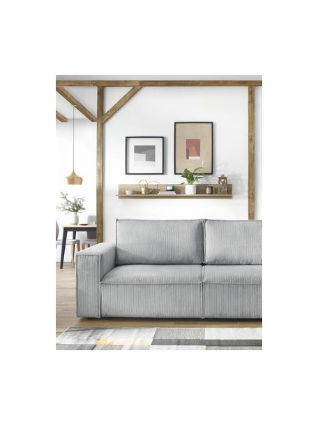 Sofá cama de pana Nihad (3plazas), con espacio de almacenamiento, Tapizado: pana de poliéster, Patas: plástico, Gris claro, An 245 x F 102 cm