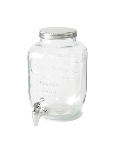 Getränkespender Dastan aus Glas, Behälter: Glas, Deckel: Metall, Transparent, Ø 15 x H 26 cm