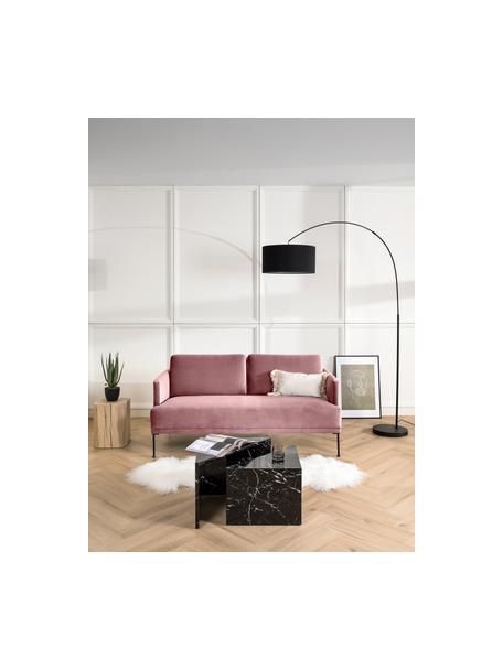 Fluwelen bank Fluente (2-zits) in roze met metalen poten, Bekleding: fluweel (hoogwaardig poly, Frame: massief grenenhout, Poten: gepoedercoat metaal, Fluweel roze, B 166 x D 85 cm