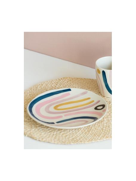 Bemalter Frühstücksteller Linha, 2 Stück, Steingut, Mehrfarbig, Ø 22 x H 2 cm