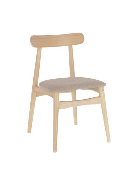 Houten stoel Nayme met gestoffeerde zitvlak, Bekleding: polyester, Frame: rubberhout, Frame: multiplex, Bruin, beige, 48 x 50 cm
