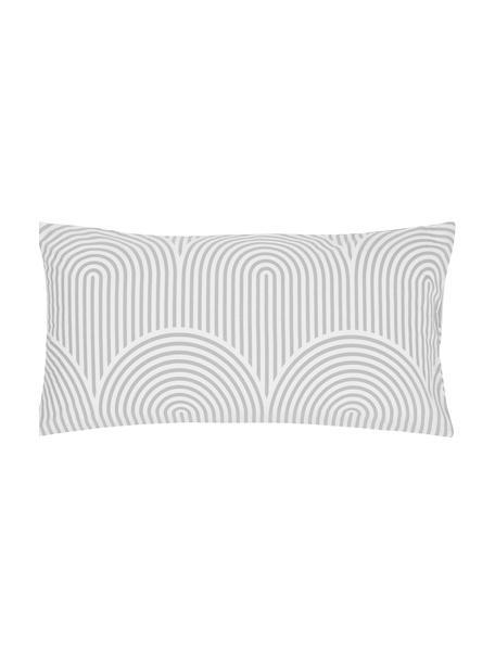 Gemusterte Baumwoll-Kissenbezüge Arcs in Grau/Weiß, 2 Stück, Webart: Renforcé Fadendichte 144 , Grau,Weiß, 40 x 80 cm
