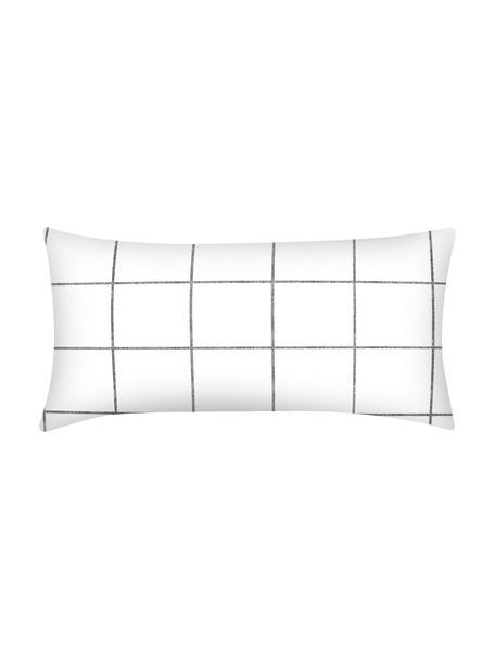 Karierte Baumwollperkal-Kopfkissenbezüge Juna in Schwarz/Weiß, 2 Stück, Webart: Perkal Fadendichte 180 TC, Weiß, Schwarz, 40 x 80 cm