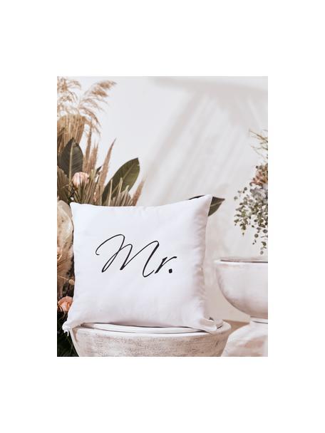 Set de fundas de cojín Mr&Mrs, 2pzas., Blanco, negro, An 40 x L 40 cm