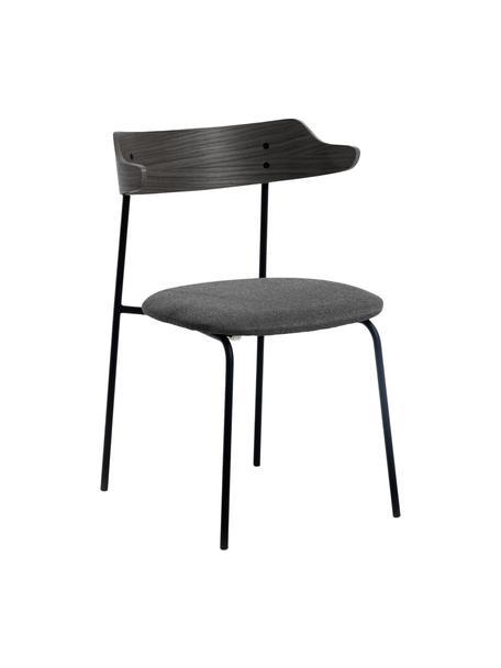Gestoffeerde stoelen Olympia met rugleuning van hout, 2 stuks, Zitvlak: textiel, Frame: metaal, Zwart, B 52 x D 49 cm