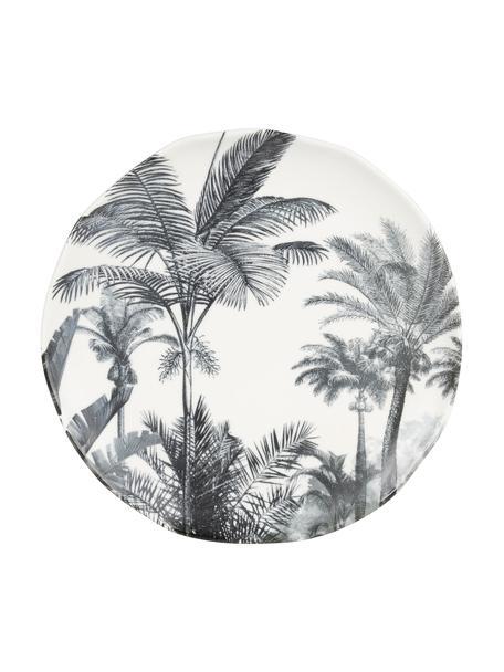 Ontbijtborden Papaye met palmmotief, 4 stuks, Porselein, Wit, zwart, Ø 21 cm