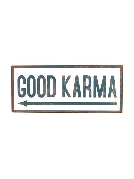 Wandschild Good karma, Metall, mit Motivfolie beklebt, Weiss, Blau, 31 x 13 cm
