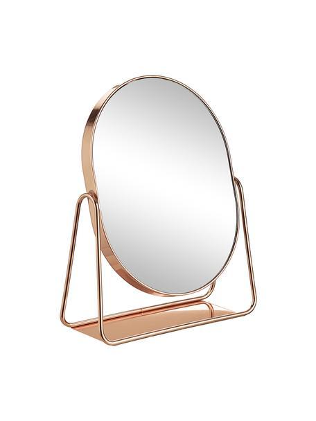 Espejo tocador ovalado de metal Gloria, Estructura: metal recubierto, Espejo: vidrio, Rosa dorado, An 16 x Al 22 cm