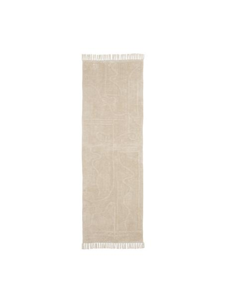 Handgetufteter Baumwollläufer Gustav mit Fransen, Beige,Weiß, 80 x 250 cm