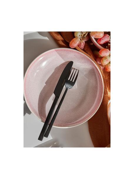 Ręcznie wykonany talerz głęboki Amalia, 2 szt., Ceramika, Jasny różowy, kremowobiały, Ø 20 cm