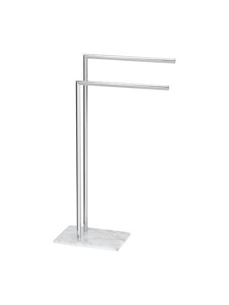 Portasciugamani Alperton, Asta: metallo, Cromo, bianco, Larg. 30 x Alt. 83 cm