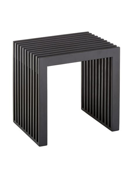 Modern kruk Rib in zwart van mahoniehout, Gelakt mahoniehout, Zwart, 45 x 43 cm