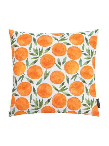 Kussenhoes Orange met zomers motief, Weeftechniek: half panama, Oranje, wit, groen, 50 x 50 cm
