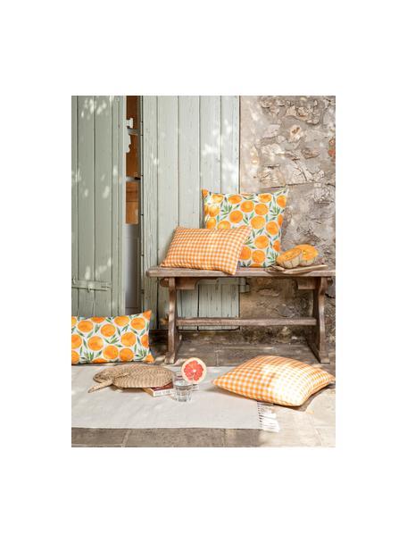 Kissenhülle Orange mit sommerlichem Motiv, Webart: Halbpanama, Orange, Weiß, Grün, 50 x 50 cm
