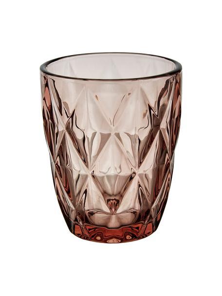 Bicchiere acqua con motivo strutturato Colorado 4 pz, Vetro, Rosa, trasparente, Ø 8 x Alt. 10 cm