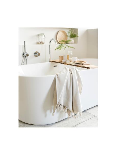 Hamamdoek Soft Cotton, Lichtbeige, wit, 100 x 180 cm