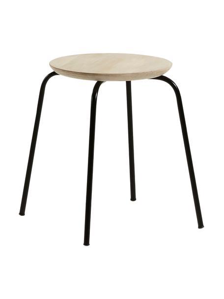 Kruk Ren, Zitvlak: mangohout, natuurlijk, Poten: gelakt metaal, Mangohoutkleurig, zwart, Ø 40 x H 45 cm