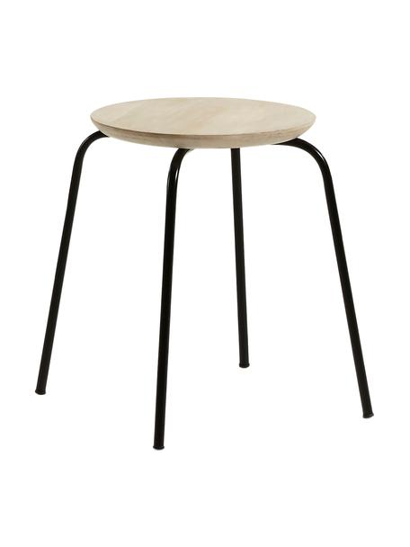 Sgabello impilabile Ren, Seduta: legno di mango, naturale, Gambe: metallo, verniciato, Legno di mango, nero, Ø 40 x Alt. 45 cm