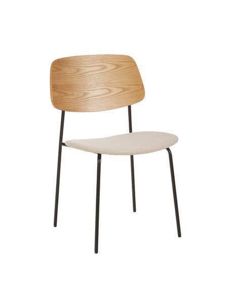 Houten stoelen Nadja met gestoffeerde zitvlak, 2 stuks, Bekleding: polyester, Poten: gepoedercoat metaal, Beige, 51 x 52 cm